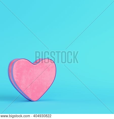 Pink Abstract Heart Shape On Bright Blue Background In Pastel Colors. Minimalism Concept. 3d Render