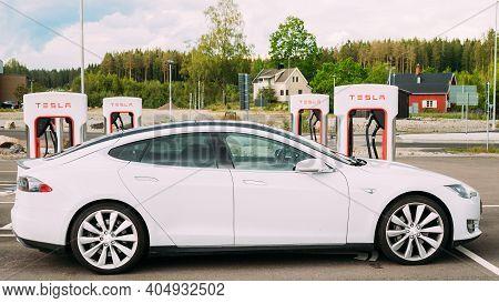 Tocksfors, Sweden- June 26, 2019: Tesla Model S P85 Car Parked At Charging Station. The Tesla Model