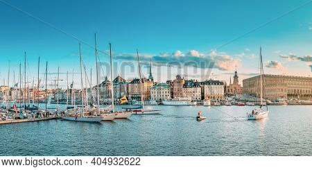 Stockholm, Sweden - June 27, 2019: Scenic Famous Panoramic View Of Embankment In Old Town Of Stockho