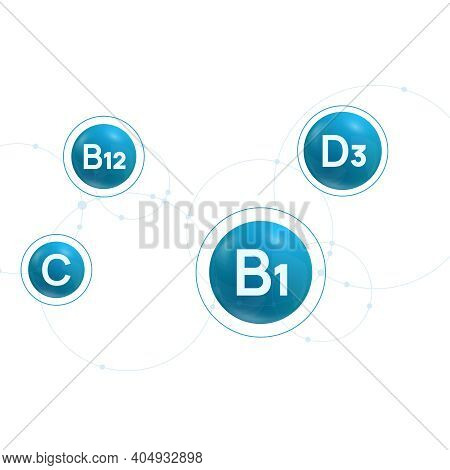 B1, B12, C, D3 Vitamins Complex. Vector Blue Background With Molecular Structure.
