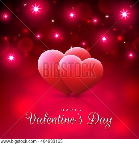 Red Bokeh Background For Valentines Day Greeting Card With Pink Hearts And Lights. Happy Valentine D