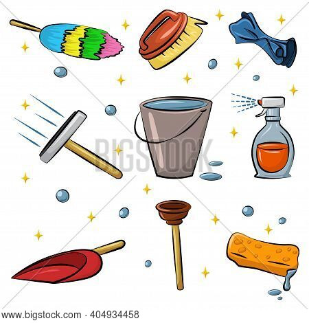 Cleaning Tools Vector Cartoon Set Isolated On White Background. Duster, Sponge, Rag, Squeegee For Wi