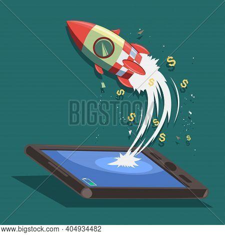Startup Vector Concept Design. Rocket Ship Flies From A Smartphone Or Tablet. Vector Cartoon Illustr