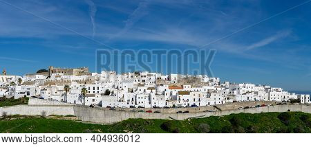 Panorama Of The Historic Whitewashed Andalusian Village Of Vejer De La Frontera