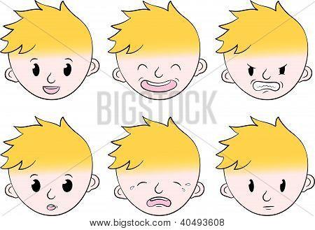 Little boy facial emotions set