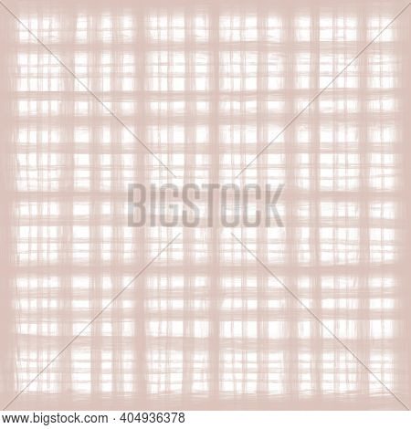 Beige Brown White Vintage Checkered Background With Blur, Gradient And Grunge Texture. Classic Check