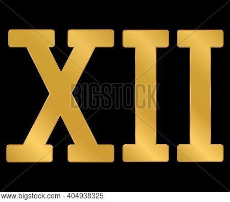Golden Roman Numeral Twelve On Black Background. Vector Illustration.