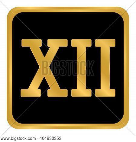 Golden Roman Numeral Twelve Button. Vector Illustration.