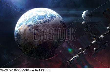 Planet Earth And Moon. Iss Blurred In Motion. Solar System. 3d Render. Science Fiction. Elements Of
