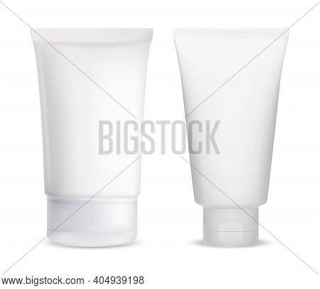 Cream Tube Blank. Cosmetic Lotion Package White. Gel Container Mockup. Medical Product Wrapper Illus