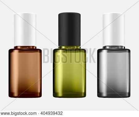 Nail Polish Bottle Isolated Paint Packaging Set Mockup. Different Color Nailpolish Pack. Cosmetic Se
