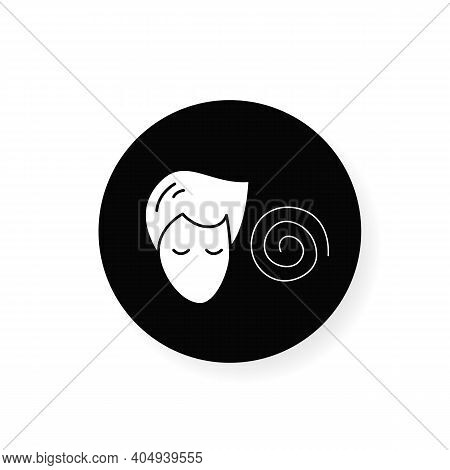 Hypnosis Flat Glyph Icon. Absorbed Or Meditating Person With Hypnotic Helix . Silhouette Concept Of