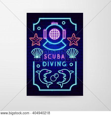 Scuba Diving Neon Flyer. Vector Illustration Of Dive Promotion.