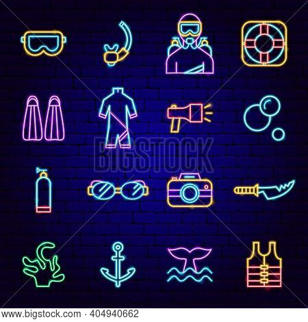 Diving Neon Icons. Vector Illustration Of Scuba Dive Promotion.