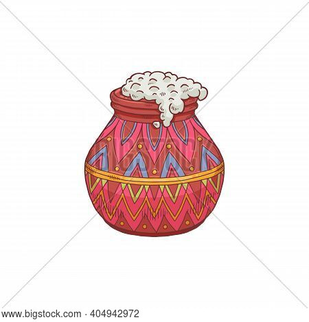 Festive Beautiful Indian Mud Pot Overflowing With Rice A Vector Illustration