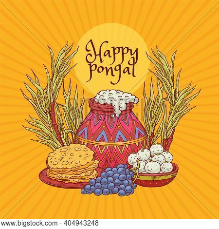 Vector Greeting Card Design For Pongal Harvest Indian Holiday.