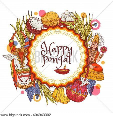 Card For Happy Pongal Harvest Holiday A Vector Illustration