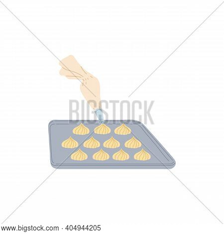 Placing The Dough On Baking Sheet For Baking, Flat Vector Illustration Isolated.