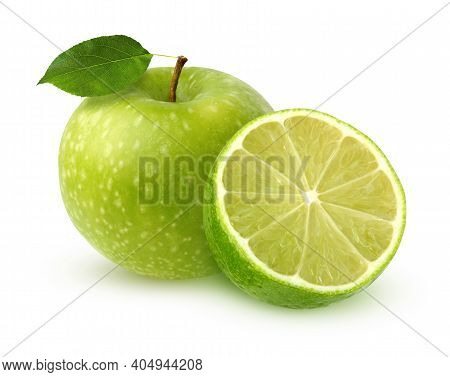 Green Apple With Leaf And Half A Lime Isolated On White Background. Green Fruits With Shadow.
