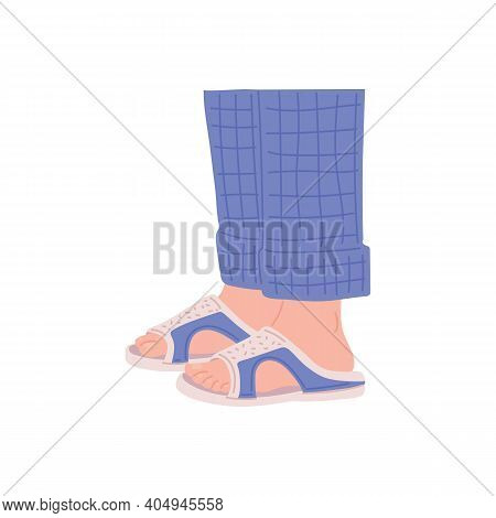 Legs In Home Slippers And Pajama Pants - Cozy Isolated Footwear