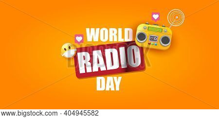 World Radio Day Horizontal Banner With Vintage Old Orange Cassette Stereo Player Isolated On Orange