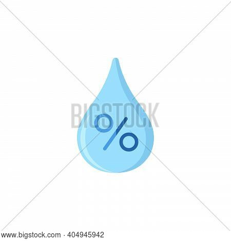 Humidity Percent. Water Drop. Flat Color Icon. Isolated Weather Vector Illustration