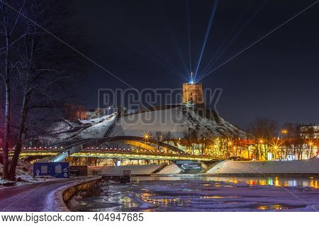 Vilnius, Lithuania - January 25, 2021: Vilnius Main Symbol, Gediminas Castle Illuminated For 698 Cit