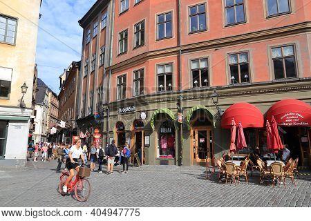 Stockholm, Sweden - August 23, 2018: People Visit Gamla Stan (old Town) In Stockholm, Sweden. Stockh