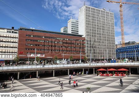 Stockholm, Sweden - August 23, 2018: People Visit Sergels Torg Square In Norrmalm District, Stockhol