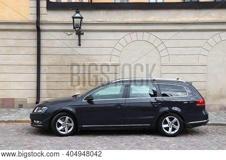 Stockholm, Sweden - August 23, 2018: Black Volkswagen Passat Station Wagon Parked In Stockholm, Swed