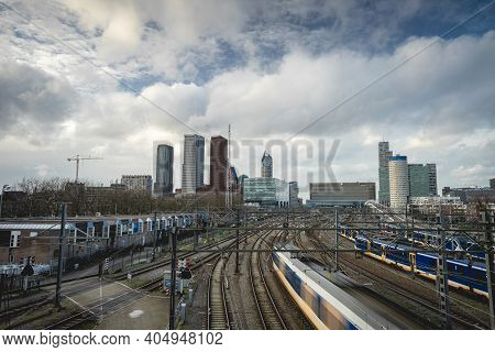 Skyline The Hague And The Trainststion , The Netherlands. Januari 21 2020.