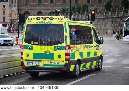 Stockholm, Sweden - August 23, 2018: Ambulance Vehicle (mercedes-benz Sprinter) In Stockholm.