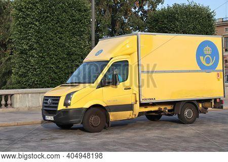 Stockholm, Sweden - August 23, 2018: Volkswagen Crafter Postal Delivery Truck In Stockholm, Sweden.