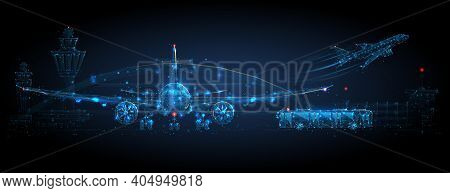 Digital Airplane Standing On Runway, Airport Buildings, Plane Taking Off, Shuttle Bus, Control Tower