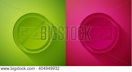 Paper Cut No Money Icon Isolated On Green And Pink Background. Prohibition Of Money. Paper Art Style