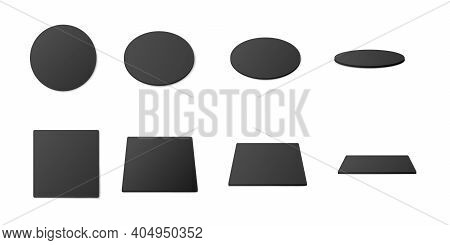 Beer Coasters At Inclination, Realistic Vector Illustrations Set Isolated.