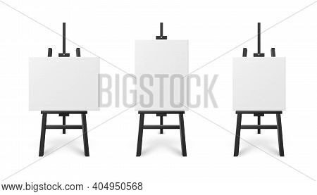 Templates Set Of White Artboard On Easel, Realistic Vector Illustration Isolated.