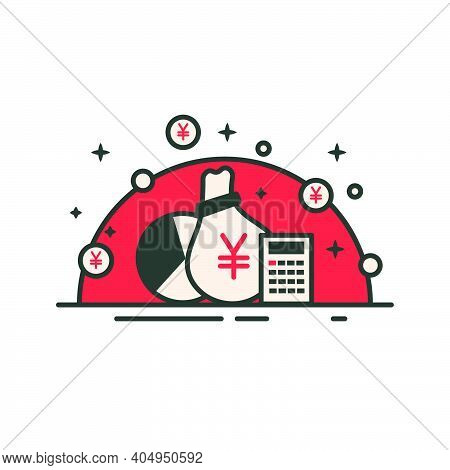 Money Bag With Yen Symbol With Graph And Calculator. Yen Icon In Red Design. Financial Bank Bag Inve