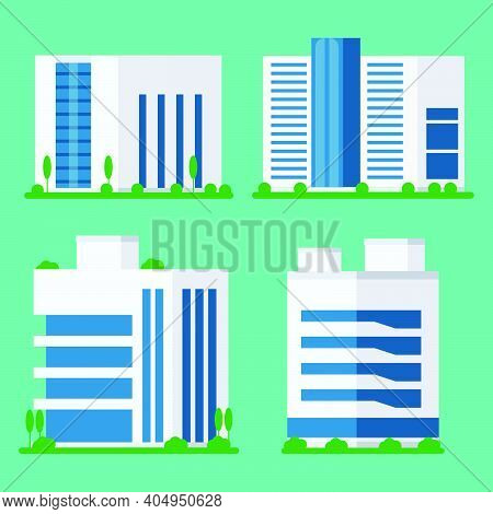 Collection Of Office Modern Building Icons. Business Buildings Logo For Office Work Isolated Archite