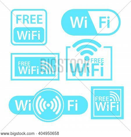 White And Blue Wifi Stickers In Flat Design Isolated. Free Internet Wifi Zone Label. Web Wireless Ar