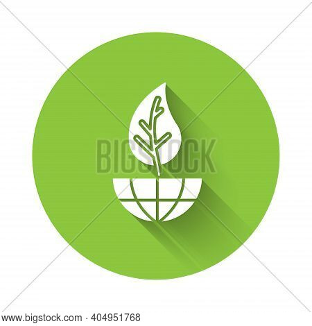 White Earth Globe And Leaf Icon Isolated With Long Shadow. World Or Earth Sign. Geometric Shapes. En