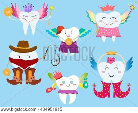 Set Tooth Fairy. Vector Cartoon Illustration. Various Tooth Fairies In Different Clothes. Tooth Fair