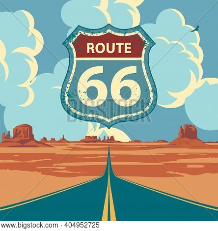 Historic Us Route 66, Roadway With A Pointer, The Horizon With A Sandy Wasteland. Vector Illustratio