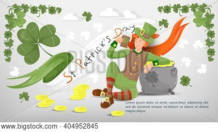 Flat Illustration Banner For Decoration Designs, On The Theme Of The St. Patricks Day Holiday, A Guy