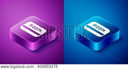 Isometric Hotel Key Card From The Room Icon Isolated On Blue And Purple Background. Access Control.