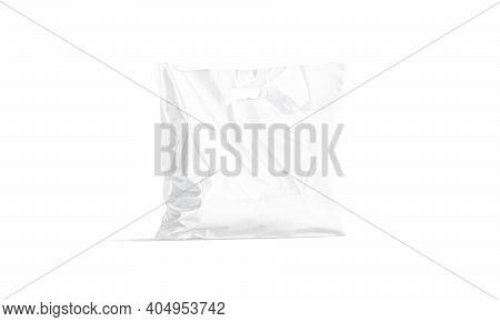 Blank White Die-cut Full Plastic Bag With Handle Hole Mockup, 3d Rendering. Empty Wide Diecut Pack F