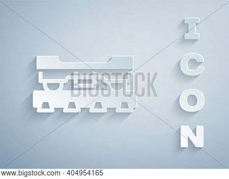 Paper Cut Cargo Train Wagon Icon Isolated On Grey Background. Freight Car. Railroad Transportation.