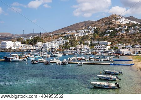 Ios, Greece - September 22, 2020: View Of The Marina Of Ios Island On A Sunny Day Cyclades Islands,
