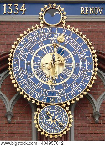 The Big Clock-calendar On The Blackhead's House In Old Town Of Riga, Latvia