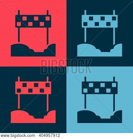 Pop Art Ribbon In Finishing Line Icon Isolated On Color Background. Symbol Of Finish Line. Sport Sym